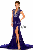 2014 Pageant Dresses High Neck Crystal Beading Dark Purple C...