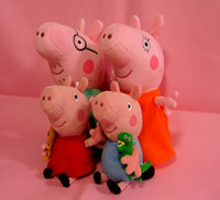 Unisex Big Kids Video Games Free shipping Peppa pig Set of 4 Daddy Mummy Pig Peppa George Pig family large Plush toy set Peppa hold Teddy