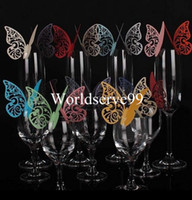 Wholesale 60x Butterfly Place Name Card Cup Paper Card Table Mark Wine Glass Wedding Favors Party Decor