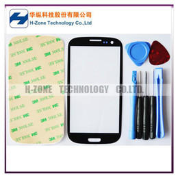 Wholesale HK Singapore Post Freeshipping Black LCD Screen Front Lens Glass Cover For Samsung Galaxy i9300 SIII S3 Adheive Tools