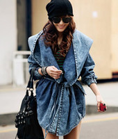 Wholesale New Women s Denim Hooded Trench Coats Hoodie Outerwear Jeans trench Coat Drop Shipping