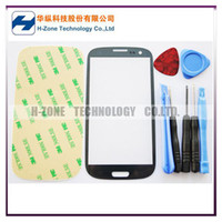 Wholesale Freeshipping Hotsell Grey Outer LCD touch Screen Top Glass Lens Replacement for Samsung Galaxy S3 SIII i9300 Tools Adhesive