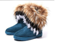 Wholesale 2014 Fashion Autumn and Winter Short Boots Fox Fur Rabbit Fur Snow Boots Leather Tassel Women s Shoes Snow Boots High Quality