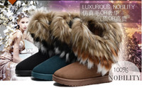 Wholesale Fashion Tassel Artificial Fox Rabbit Fur Genuine Leather Women Snow Boots for Women and Woman Winter Shoes Large Size Flat Boots