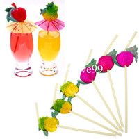 Wholesale 100pcs D Fruit Cocktail Plastic Drinking Straw BBQ Hawaiian Party Decoration Assorted