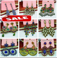 Wholesale Fashion women big earrings vintage dangle chandelier pendants earring stud charm jewelry colorful Boutique dropship
