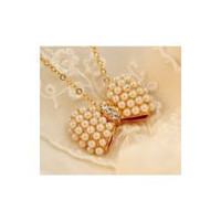 Stud Individually wrapped Diamond Wholesale-C7027 kaki show 2012 new fashion small fresh pearl bow necklace chain clavicle