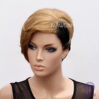 Mix Color short black wigs - Inch Rihanna Female Glamorous Charming Short Golden Black Straight Women Wig High Quality Lady Hair H9126Z
