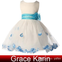 Real Photos Girl Hand Made Flower GK Sleeveless Ball Gown Flower Girl Dresses Satin+Voile Little Girl Princess Dress Formal Party DressesCL4607