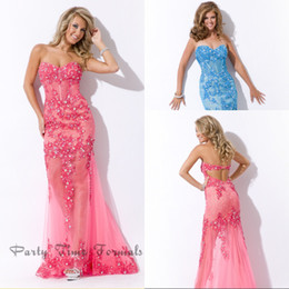 Wholesale 2014 Party time Crystal Prom dresses Sweetheart Applique and Beaded Hot pink Elegant Evening Party Gowns Prom Dresses
