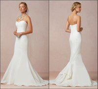 Trumpet/Mermaid low price dresses - Exquisite Mermaid Wedding Dresses Bridal Gown Sweetheart Satin Court Train Zipper Back Sleeveless Modest Simple Style Low Price Beading Sash