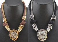 South American lion charms - Charming Rhinestone Tiger Lion Head Rope Snake Chains Choker Necklace Pieces Fashion European Style