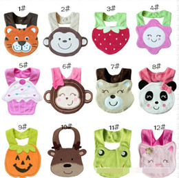 Wholesale Kids Gift Infant Eating Accessories Baby Bibs Cartoon Animals Cakes Flower Strawberry Pumpkin Design Toddle Bibs Babies Burp Clothes D1209