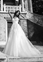 Wholesale A Line Sexy Sweetheart Ivory Lace Tulle Wedding Dresses Vintage Chapel Train Lace Up Corset Bridal Gown