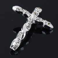 Wholesale Clear Rhinestone Crystal Silver Plated Curved Sideways Connectors Cross Beads For DIY Bracelets Making x28mm