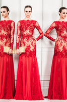 Reference Images Jewel/Bateau Lace 2014 Zuhair Murad Bateau Long Sleeve Evening Formal Graduation Gown Lace Spring New Arrival Sexy Red Mermaid Evening Dresses Cheap