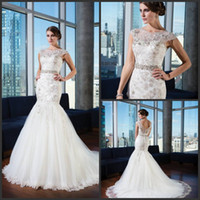 Trumpet/Mermaid Reference Images Square Berta Dramatic 2015 New arrival Crystal Belt Mermaid Cap Sleeves Top Lace Spring Summer Wedding Dresses Beautiful Bridal Gowns Just027