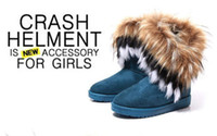 Wholesale Christmas High Heels Boots - Free shipping 2014 Winter warm High Long Snow Boots Artificial Fox Rabbit Fur leather Tassel women's shoes,size 36-40 Best Christmas gift