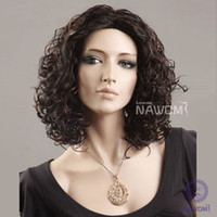 Wholesale Female Glamorous Charming fashion short dark brown wave Fiber Synthetic women Wig Hair H9125Z