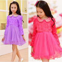 Wholesale Girls Dress Colors New Style Girl Long Sleeve Roll Lace Rose Gauze Princess Doll Collar Children Spring and Autumn Clothing A