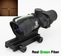 Wholesale 4x32 ACOG Style Optical Tactical Scope W Green Fiber Crosshair reflective coating Weaver Riflescopes Combat Gunsight For Hunting