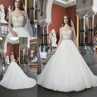 Wholesale 2014 New Collection Ball Gown Garden Wedding Dress Bridal Gowns With Sweet heart White Covered Button Crystal Low Cut Back Court Train