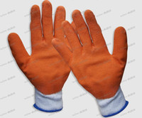 Wholesale LLFA3713 Orange latex coating gloves work gloves glue gloves safety gloves