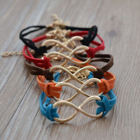 Wholesale Cheap price fashion jewelry infinity bracelet charm leather for women wholeslae Min order is can mix different goods B723 Min order is