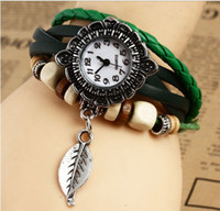 Wholesale Free ship Retro Quartz Fashion Weave Wrap Around Leather Bracelet Bangle Womens Tree Leaf Green Girl Watch