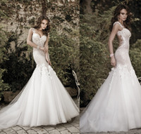 Wholesale 2014 New Luxury Galia Lahav Wedding Dresses Spaghetti Backless Appliques Flowers Mermaid Court Train Tulle Lace Sexy See Through Bridal Gown