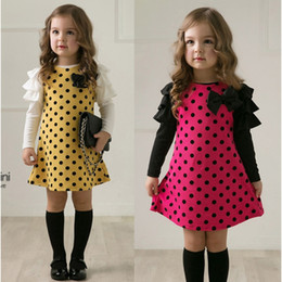 Wholesale Girls Dress Colors New Style Little Dot Girl Long Sleeve Lace Rose Gauze Princess Doll Collar Children Spring and Autumn Clothing A