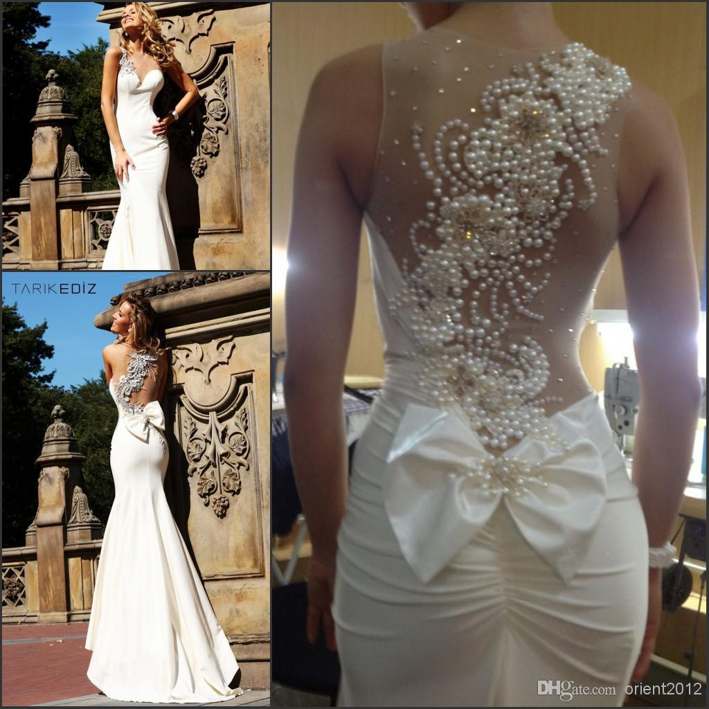 2014 Sexy Tarik Ediz Ivory Mermaid Prom Dress Sheer Straps Long ...