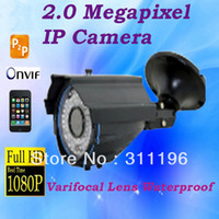 "IP Bullet Security Camera 2.0Mega pixels(1920*1080) 60pcs IR Leds 2.0 Megapixel Full HD 1080P IP Camera SONY 1 2.5"" CMOS with IR Cut filter Varifocal Lens Plug and Play Webcam Security"