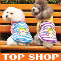 T Shirts extra long t shirt - Dog Apparel Dog T Shirt Hooded Pure Cotton Striped Long Sleeve Colors Sizes Pet Dog Clothes