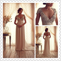 2014 Anna Campbell Sexy V- Neck Beading Sweep- Train Sheath Sh...