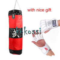 Wholesale Free Gift High Quality cm MMA Boxing Heavy Punching Bag With Hook Empty With Muay Thai Boxing Gloves White