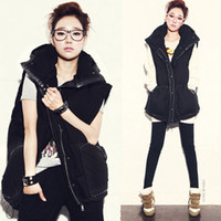Wholesale Autumn and winter brand black patchwork with hood medium long thick casual all match plus size cotton vest lined vest outerwear