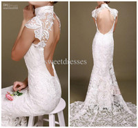 Wholesale 2014 New Fashion Chinese Wedding Dress Sexy Lace Applique Chapel Train Hollow High Neck Mermaid Baidal Wedding Gowns