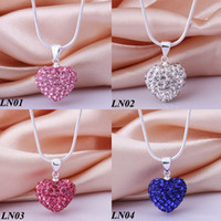 Wholesale Top Quality Silver Shamballa Necklace MM Crystal Pink CZ Disco Bead Pendant Charms Necklace