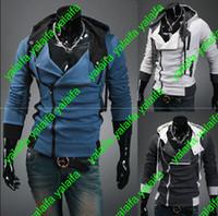 Hot Assassin's Creed 3 Desmond Miles Hoodie Top Coat Chaqueta Traje de Cosplay, assassins creed estilo Chaqueta con capucha de lana, WEIYI001-2
