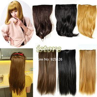 Wholesale 2013 Women s Appealing Synthetic Hair Extensions With clips One Piece Clip In Long Straight Curly Wavy Colors