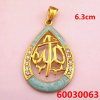 Wholesale Muslim islam allah Pendant k jewelry gift Items Water drop pendants pendant Gold