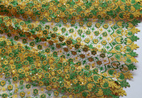 Wholesale High Grade Gold Metallic Chemical French Lace Swiss Voile Lace African Lace Fabric wedding Apparel with sequins