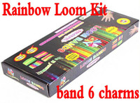 Wholesale Rainbow Loom Kit DIY loom beads with charms bracelets Tie Dye Rubber Bands Twistz Bands counts clips charms set bag