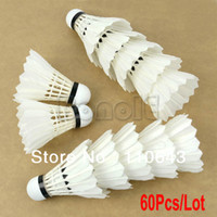 Wholesale 60pcs New Training Practice Feather Shuttlecock Birdies Badminton Ball Game Sport White