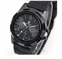 Wholesale 55pcs Christmas Gift For Men s Swiss Military Watch Color Military Army Pilot Fabric Strap Sports Watch DHL