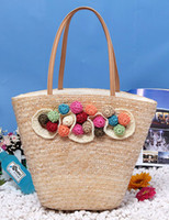 Wholesale Sweet Flowers Decoration Straw Woven Tote Beach Bag transparent handbag r33 u10 H6Q