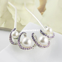 Wholesale Min Order USD15 mix order Hot Design Crystal Pearl Metal Hair Pin Accessory Jewelry
