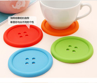 Wholesale creative household supplies round silicone coasters cute button coasters Cup mat AAA