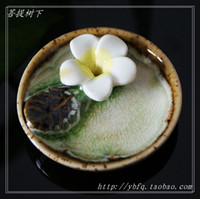 Wholesale Mini ceramic hong plate egg flower round dish incense holder cone perfume